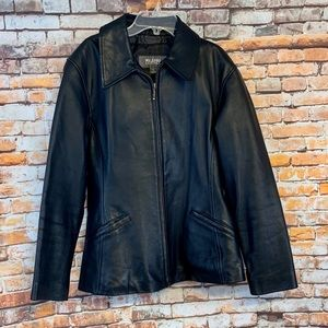 Wilson's Leather Black Real Leather Tapered Jacket